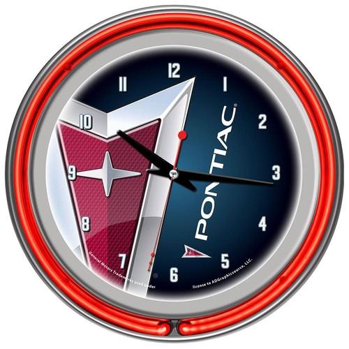 Trademark Global Pontiac Chrome Double Ring Neon Clock