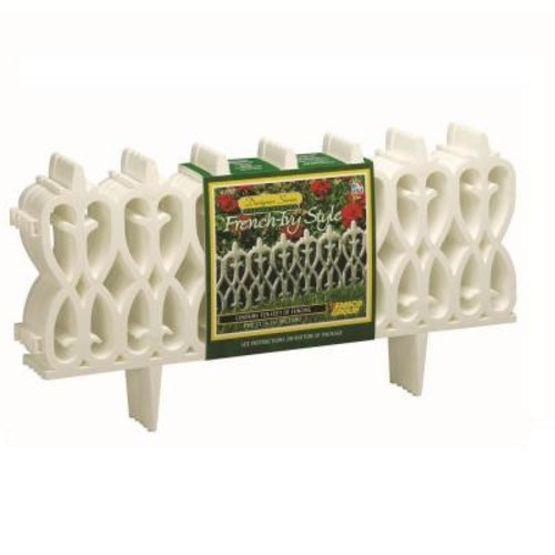 Emsco 12 in. White Resin Deluxe French Ivy Garden Fence (15-Pack)