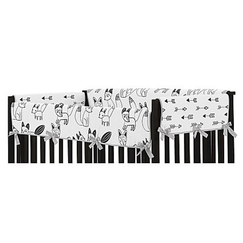 Sweet Jojo Designs Fox Long Crib Rail Cover in Grey/Black