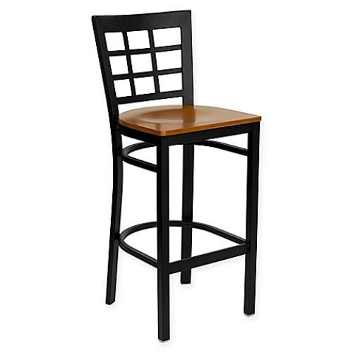 Flash Furniture Metal Bar Stool with Wood Seat in Cherry/ Black
