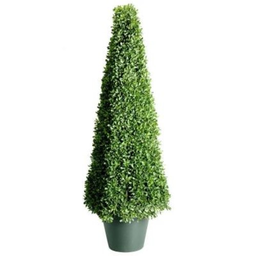 National Tree Company 48 in. Mini Boxwood Square Artificial Topiary Tree in 9 in. Round Green Growers Pot