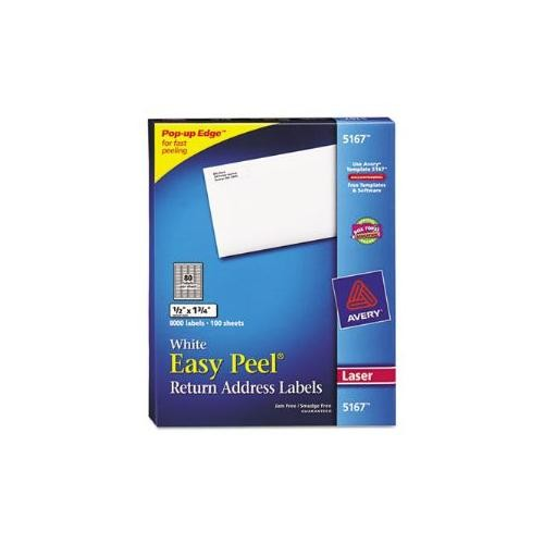 Avery Easy Peel Return Address Labels for Laser Printers 1/2