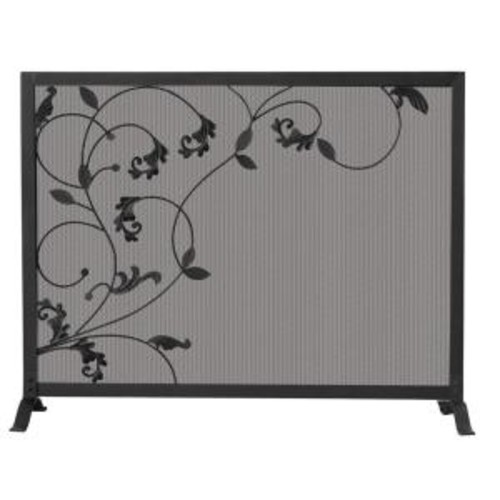 UniFlame Black Wrought Iron Single-Panel Fireplace Screen with Flowing Leaf Design