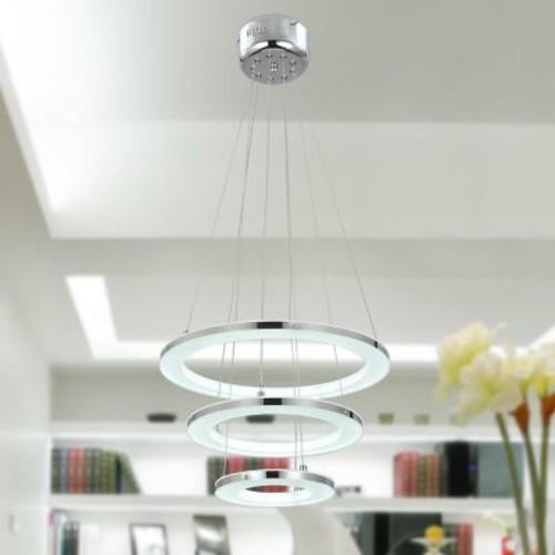 Unitary Acrylic Modern 3-Light LED Cascade Pendant; White