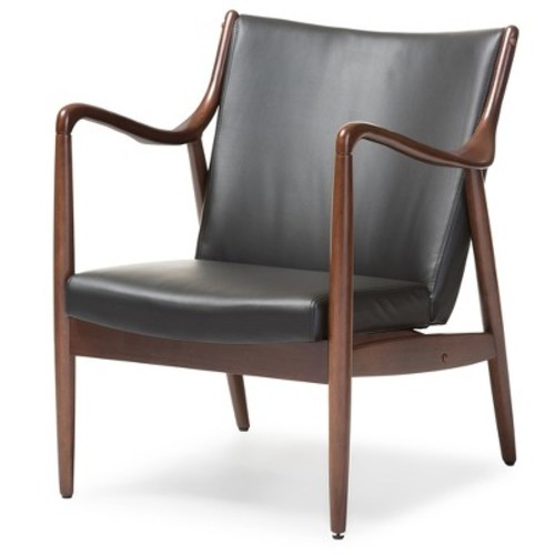 Shakespeare Mid - Century Modern Retro Faux Leather Upholstered Leisure Accent Chair In Walnut Wood Frame - Black - Baxton Studio