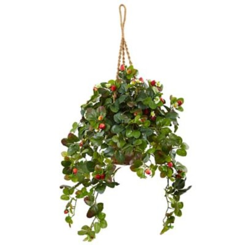 August Grove Silk Strawberry Bush Arrangement Hanging Ivy Plant in Basket