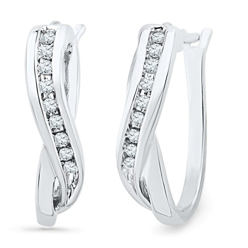 Sterling Silver Round Diamond Hoop Earring (1/10 cttw)