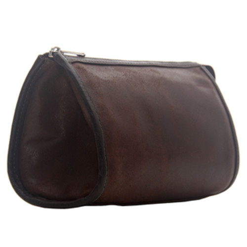 Piel Leather Travel Accessories Piel Leather Brush Pencil Bag [option : Brown]