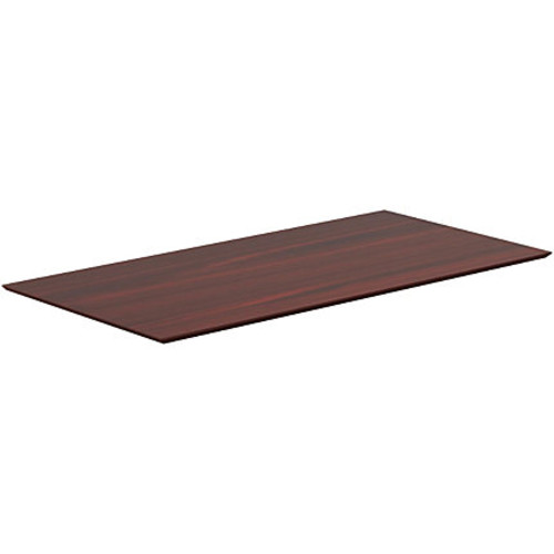 Lorell Electric Height-Adjustable Mahogany Knife Edge Tabletop - Rectangle Top - 60