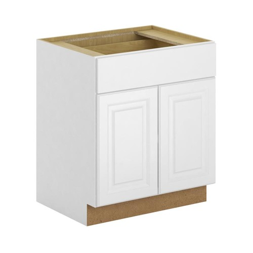 Hampton Bay Madison Assembled 30x34.5x24 in. Base Cabinet with Soft Close Drawer in Warm White