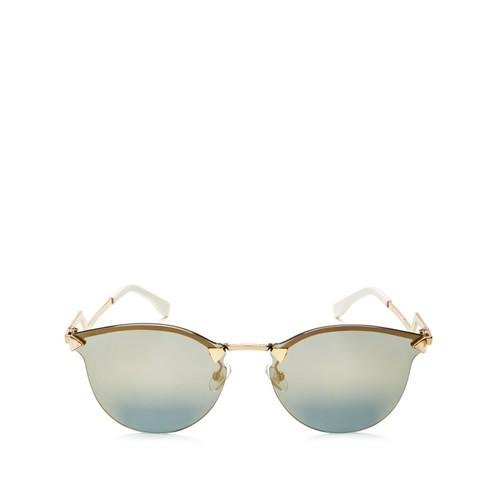 Mirrored Rimless Cat Eye Sunglasses, 55mm