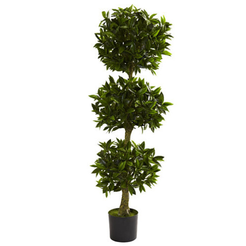 Nearly Natural 5-ft. Triple Bay Leaf Topiary UV-Resistant Indoor/Outdoor