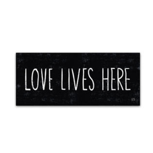 Trademark Global Love Lives Here by Michael Mullan Textual Art on Wrapped Canvas Size: 8