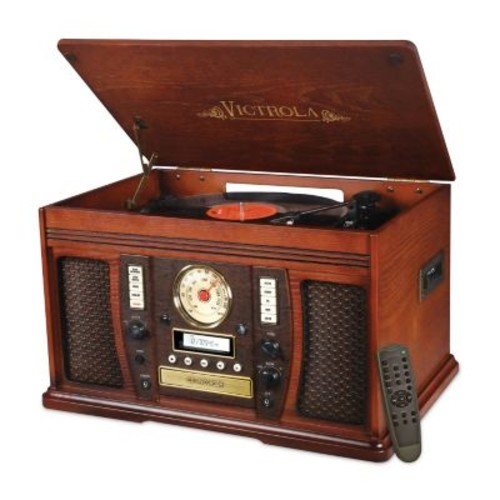 Victrola Recordable 7-in-1 Classic Wood 3-speed Turntable with Bluetooth
