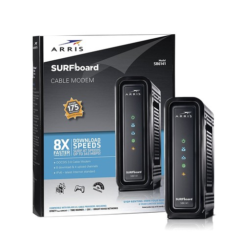 ARRIS SURFboard SB6141 DOCSIS 3.0 Cable Modem Certified with Comcast Xfinity, Time Warner, Cox, Charter, Cablevision, and more [Black, Download Speed: 343 Mbps, 8X4 Cable Modem]