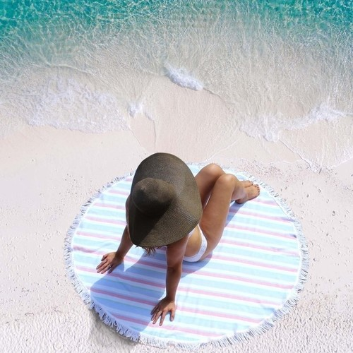 Amrapur Overseas Fouta Yarn Dyed 100-Percent Cotton Round Striped Beach Towel