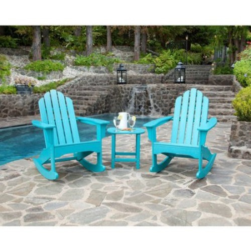 Hanover Aruba Blue All-Weather 3-Piece Patio Rocking Adirondack Set