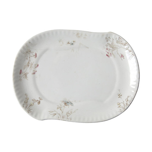 White Serving Plate with Floral Detail