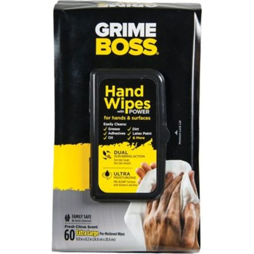 Grime Boss Hand & Surface Wipes, 60 Wipes/Pack