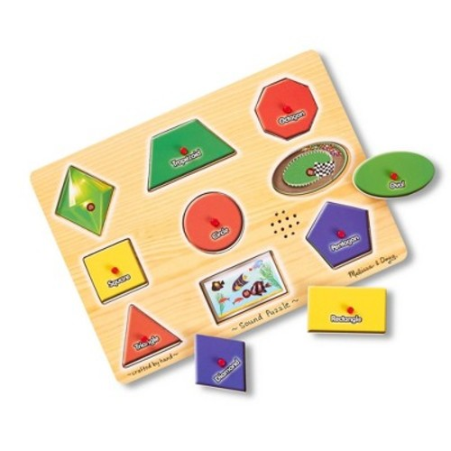 Melissa & Doug Shapes Sound Puzzle - Wooden Peg Puzzle With Sound Effects (9pc)