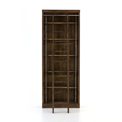 Ivy Bookcase W\/ Ladder in Brown Umber Pine