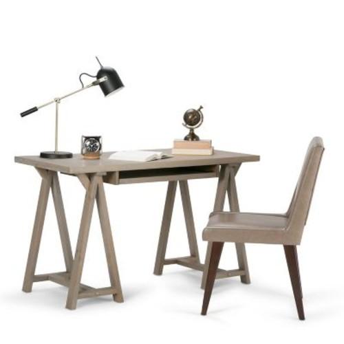 Simpli Home Sawhorse Small Desk in Distressed Grey (3AXCSAW-07S-GR)
