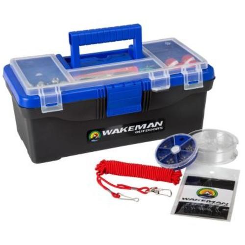 Wakeman Bold Blue Fishing Single Tray Tackle Box Tackle Kit (55-Pieces)