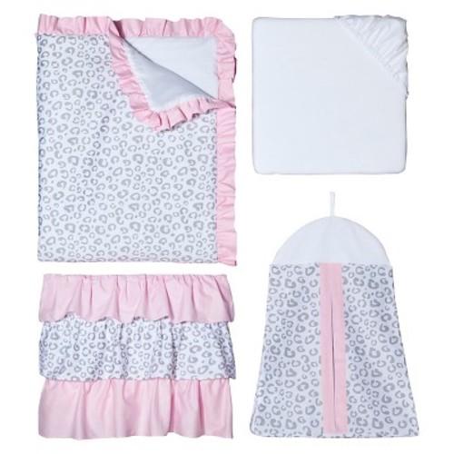 Sweet Jojo Designs 11pc Pink Kenya Crib Bedding Set - Pink Grey-White