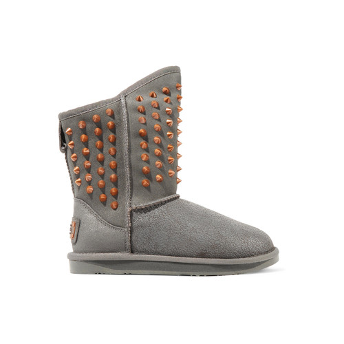 PISTOL STUDDED SHEARLING ANKLE BOOTS