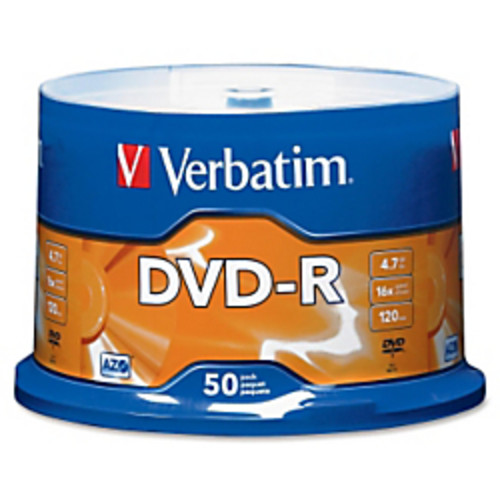 Verbatim DVD-R Recordable Media, With Spindle, 4.7GB/120 Minutes, Pack Of 50