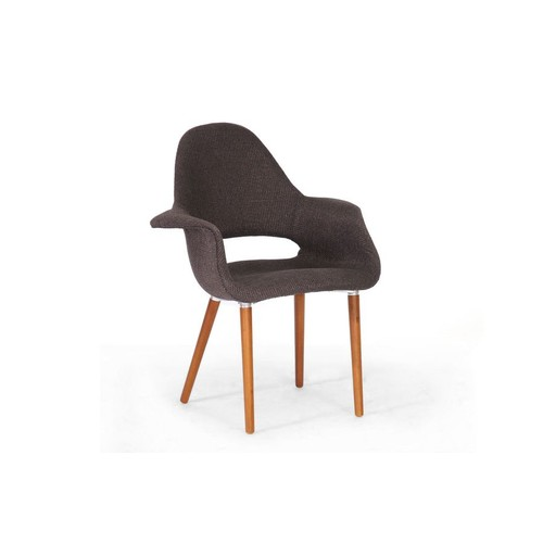 Baxton Studio Forza Dark Brown Fabric Mid-Century Modern Arm Chair (Set of 2)