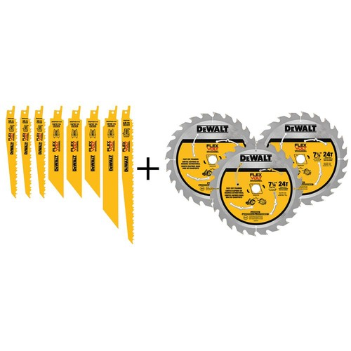 DEWALT FLEXVOLT Reciprocating Saw Blade and 7-1/4 in. Circular Saw Blade Set (11-Pack)