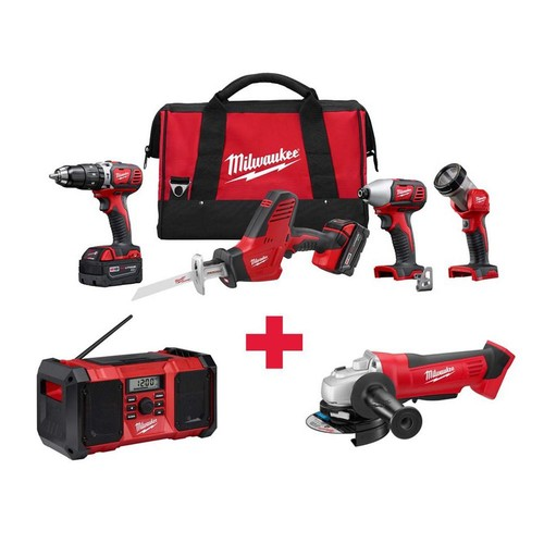 Milwaukee M18 18-Volt Lithium-Ion Cordless Combo Kit (4-Tool) with Free M18 Radio and M18 Grinder