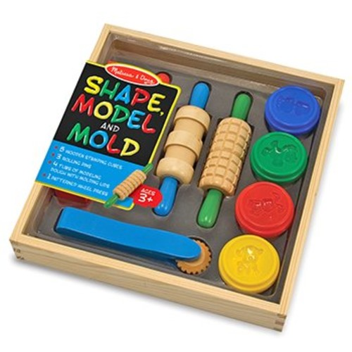 Melissa & Doug Shape, Model, and Mold Clay Activity Set - 4 Tubs of Modeling Dough and Tools [Standard Packaging]