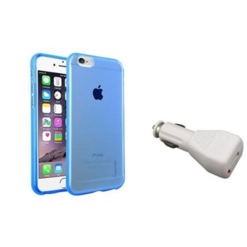 Insten Blue Clear TPU Silicone Cover Case+White Car Charger Adapter For iPhone 6 6S 4.7