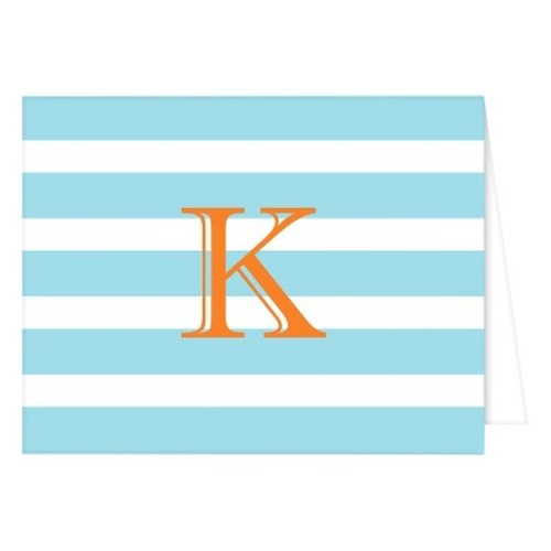 RosanneBECK Collections Light Pink Folded Notes - Cabana Stripe Monogram