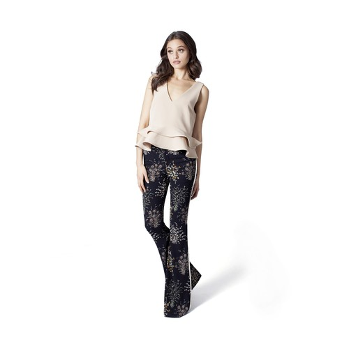 Women's Flare Pants with Piping