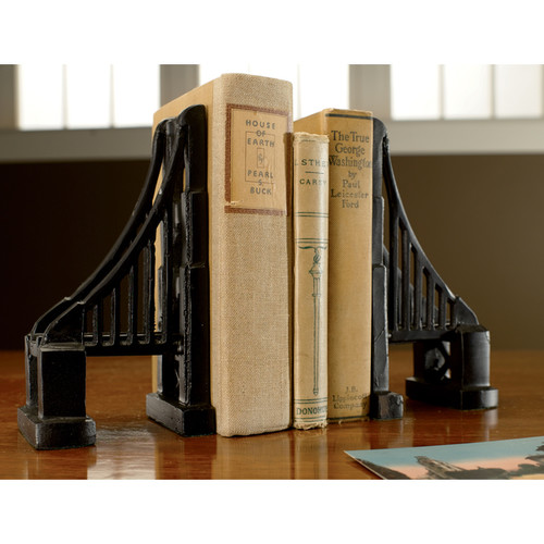 Cast Iron Bridge Black Matte Bookends (Set of 2)