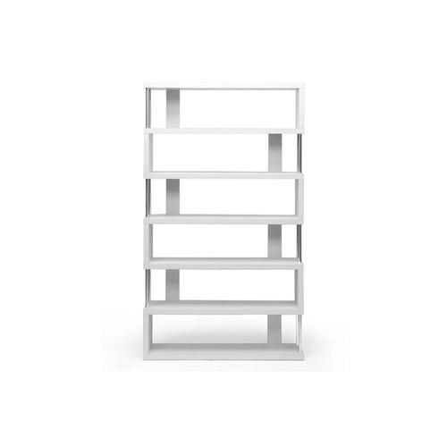 Baxton Studio Barnes White Six-Shelf Modern Bookcase FP-6D-WHITE