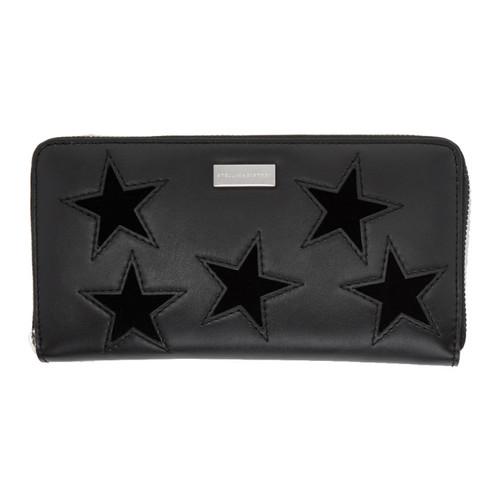 STELLA MCCARTNEY Black Stars Zip Around Wallet
