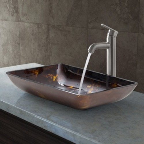 VIGO Rectangular Russet Glass Vessel Sink and Faucet Set in Brushed Nickel