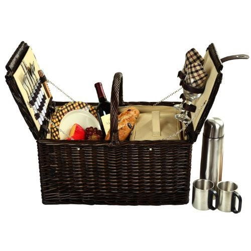Picnic at Ascot Surrey Willow Picnic Basket with Service for 2 with Coffee Set - London Plaid [Brown Wicker- London Plaid Plates/Napkins]