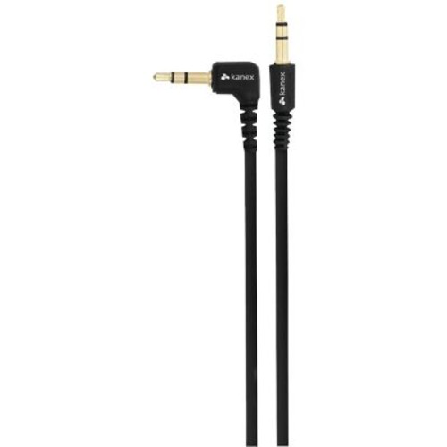 Kanex 6' Flat Angeled Stereo Male to Male Auxiliary Cable, Black
