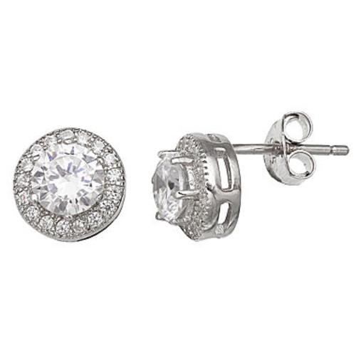 Silver Treasures Cubic Zirconia Stud Earrings - JCPenney