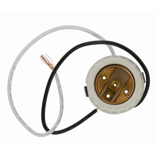 Leviton 8876 Incandescent Lampholder, Porcelain, Medium Base, with-Brass Screw Shell, 9-Inch Leads