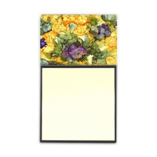 Caroline's Treasures Abstract Flowers Purple & Yellow Sticky Note Holder (CRLT95969)