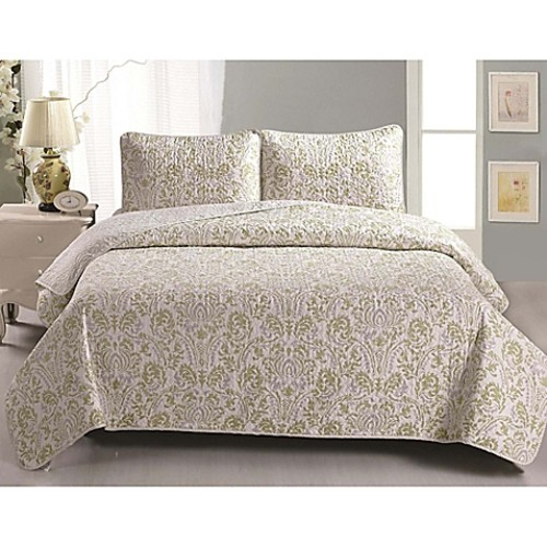 Great Bay Home Martinique Twin Quilt Set in Green/Grey