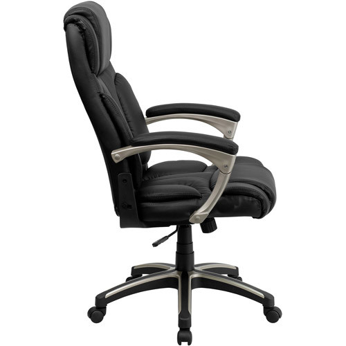 Flash Furniture High Back Folding Black Leather Executive Swivel Chair with Arms [Black]