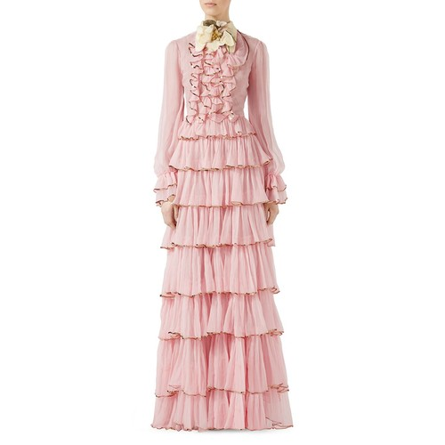GUCCI Chiffon Crepe Silk Gown, Light Pink