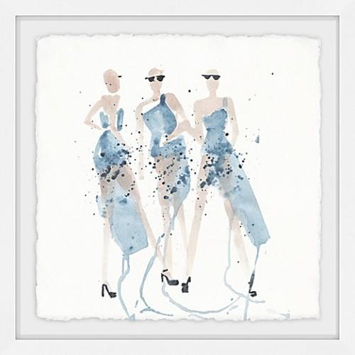 Marmont Hill Blue Taffeta 12-Inch Square Framed Wall Art